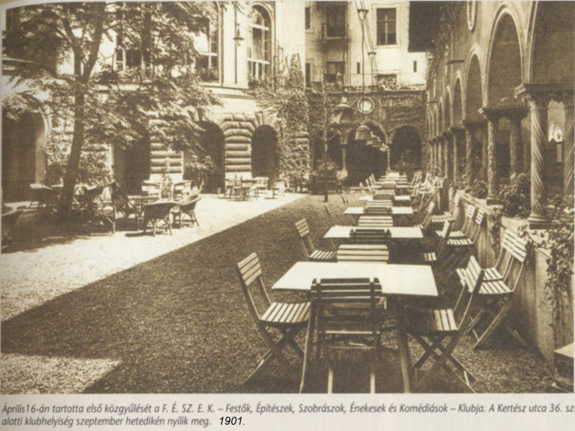 Ez itt egy elegánsabb hely, a Fészek kerthelyisége kb. a megnyitásakor, 1901 táján