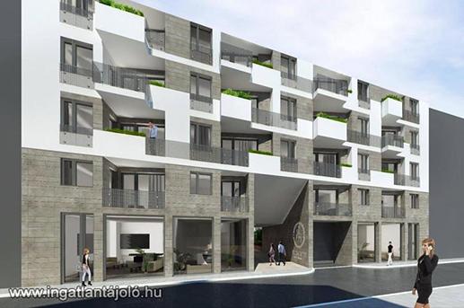 Egy, a jövőben elkészülő lakóház a negyedben, kép: ingatlantájoló