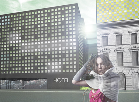 Ez itt az Instant helyére tervezett buliszálló a Nagymező utcában, kép: Magyar Építők