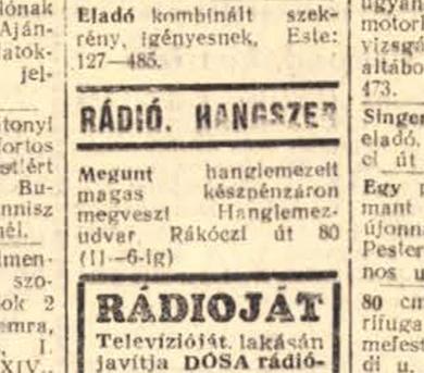 Hirdetés a Népszavában, 1958, forrás: Arcanum