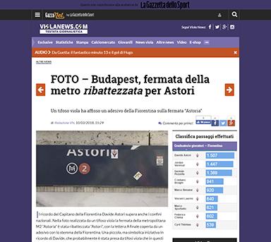 """""""Képernyőlövés"""" a Fiorentina rajongók oldaláról"""